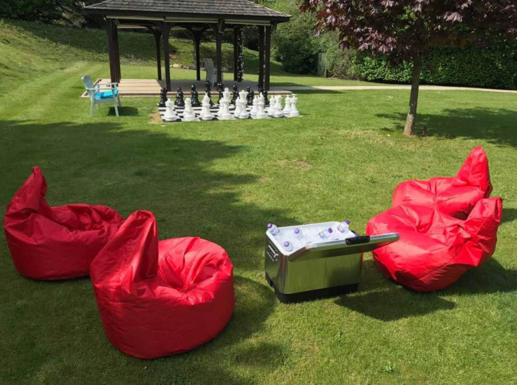 Outdoor event space at The House Of Daniel Thwaites - ergonomic bean bags